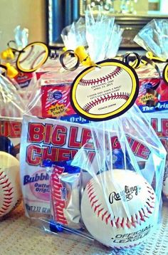 Opening Day Goodie Bag from the Coach. Cracker Jacks, Big League Chew Gum, a snack size Baby Ruth candy bar & a Rawlings Baseball.