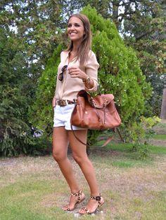 beige blouse, white jean shorts, leopard sandals, cognac bag, belt