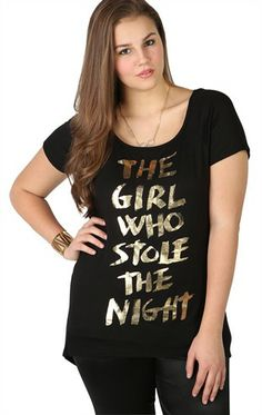 Deb Shops Plus Size The Girl Who Stole the Night Gold Screen Tee with Slash Back $18.67