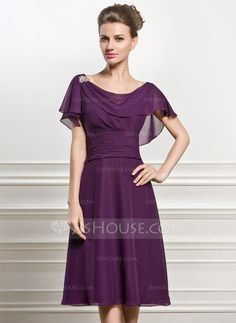 A-Line/Princess Cowl Neck Knee-Length Chiffon Mother of the Bride Dress With Beading Sequins Cascading Ruffles (008056825)
