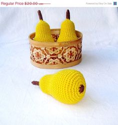 Crochet yellow pear Autumn garden harvest  by MiracleFromThreads, $17.00
