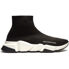 Balenciaga Speed trainers (€495) ❤ liked on Polyvore featuring shoes, sneakers, black, black hi tops, balenciaga trainers, high top shoes, hi tops and black shoes