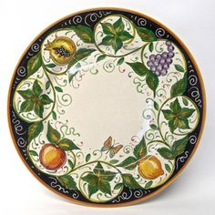 """Bonechi Imports - Handmade Italian Ceramics from Deruta - Four for Dinner Set with 11.5"""" Dinner Plate and 9.5"""" Scodella Pasta Bowl"""