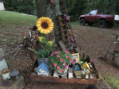 Metal Sunflower in the Junk Garden