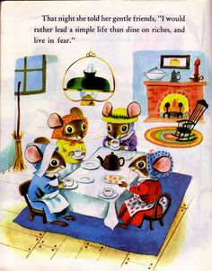 The Country Mouse and the City Mouse Illustration Little Golden Book Illustrated by Richard Scarry 1961