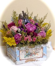 Dried Flower Arrangement. Dried Floral by CloverHollowDesigns #rustic #French country