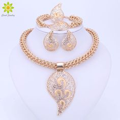 Cheap colorful jewelry sets, Buy Quality african beads jewelry set directly from China necklace set Suppliers: Gold Color Jewelry Set Costume Design Big Pendant Necklace Set Bridal Gift Nigerian Wedding African Beads Jewelry Set