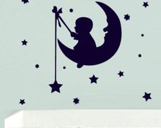 Wall  Decal Vinyl Sticker  Decor Art Bedroom Design Mural Nursery Kids Baby Funny Moon Crescent Stars Boy Fishing (z742)