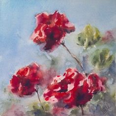 """Red Geraniums"" original watercolor painting by Julie Hill (6"" x 6"") $95"