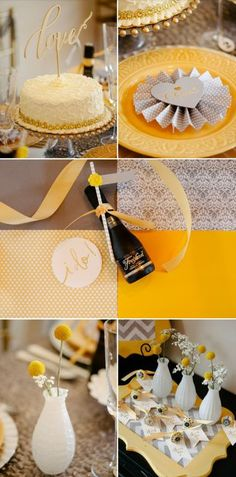 yellow & gray http://www.theperfectpalette.com/2014/04/a-glitzy-and-glam-art-deco-inspired.html