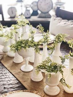 Keeping it simple for spring! Spring table scape using milk glass & greenery🌿 @jennandbearit Instagram