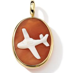 Ippolita 18k Gold Oval Airplane Cameo Charm ($1,430) ❤ liked on Polyvore