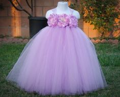 Lavender Flower Girls Tutu Dress with Big Lavender Flowers