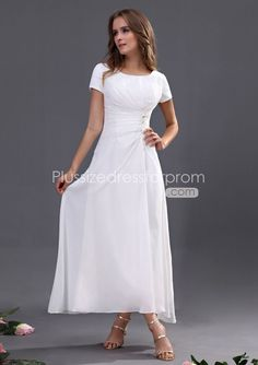 2013 new arrival short sleeves square white chiffon ankle length mother of the bride dress floor length is available p Moco Dresses Cute Wedding Dress, Fall Wedding Dresses, Colored Wedding Dresses, Bride Dresses, Modest Wedding, Formal Wedding, Wedding Events, Wedding Ideas, Tea Length Bridesmaid Dresses