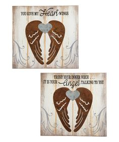 Another great find on #zulily! Angel Wings Wall Plaque Set #zulilyfinds