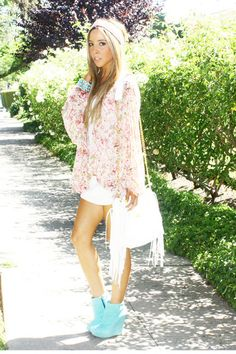 Flowy floral chiffon and turquoise booties!
