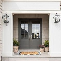 Gray Double Front Doors with Pink and Blue Vintage Rug - Transitional - Entrance. Gray Double Front Doors with Pink and Blue Vintage Rug – Transitional – Entrance/foyer Double Front Entry Doors, Grey Front Doors, Double Doors Exterior, Front Door Porch, Front Door Entrance, Front Door Colors, Glass Front Door, House Entrance, House Front