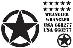 Jeep Wrangler US Army Star Decal Kit 3M Matte Black Custom ...