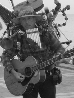 One-man band street musician in Key West, Florida, 2007
