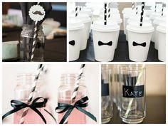 Copos personalizados para a festa preto e branco - Fotos: Pinterest