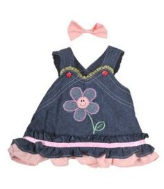 "Summer Denim Dress w/Bow Teddy Bear Clothes Outfit Fits Most 14"" - 18"" Build-a-bear, Vermont Teddy Bears, and Make Your Own Stuffed Animals"
