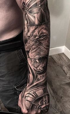For tattoo quotes men forearm lion forearm tattoos, full . Lion Forearm Tattoos, Mens Lion Tattoo, Leg Tattoos, Flower Tattoos, Tatoos, Fake Tattoos, Trendy Tattoos, Tattoos For Guys, Cool Tattoos
