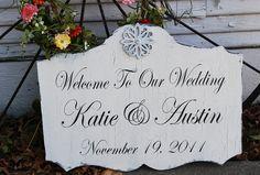 Custom Wedding Signs Wedding Decorations Bride by familyattic, $63.95