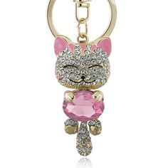 Lucky Smile Cat Crystal Rhinestone Keyrings Key Chains Holder Purse Bag For Car Keychains Jewelry