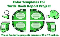 Students glue 9 templates together to form an extra large turtle that measures 24 x 17 inches.  This is a fun idea for an animal book report project activity for elementary school students.
