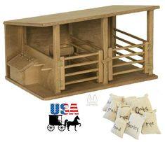Clip Clop Toy Horse Stable Barn with Feedsacks Two Stalls USA Handcrafted Toy Horse Stable, Horse Stables, Horse Barns, Miniature Horse Barn, Kids Playroom Furniture, Resin Patio Furniture, Loafing Shed, Barn Stalls, Toy Barn