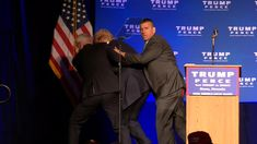 Secret Service agents rushed Donald Trump off the stage because of a disturbance in the crowd.
