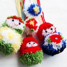 Learn how to make Matryoshka dolls pom poms with this step-by-step tutorial (in French)