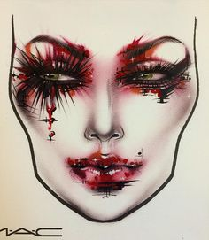 Hand Makeup, Sfx Makeup, Beauty Makeup, Facechart Makeup, Mac Face Charts, Halloween Makeup Looks, Halloween Stuff, Face Awards, Makeup Face Charts