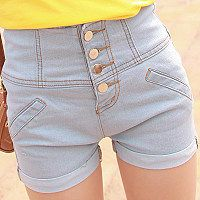 Sevi   summer dress simple wash button light turned the tide high waist denim shorts hot pants