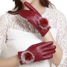 >> Click to Buy << Fashion Beautiful Rabbit Fur Ball PU Leather Gloves For Women Winter Party Gloves Mitten Luvas Female Women's Gloves 2017 #Affiliate