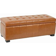 "Large Saddle Brown Manhattan Storage Bench  - basement or computer room ""coffee table"" and storage"
