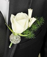 SPARKLY WHITE Prom Boutonniere in Fairfield, CA | ADNARA FLOWERS & MORE- White Rose, Rose Petals, Ming Fern, Silver Wire, Pearl Pin