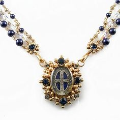 Virgins Saints & Angels Oval San Benito Magdalena Night Blue Pearl in Gold