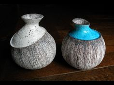 Cool ideas for Pottery. Glaze and paint only the top part, which makes it appear the one container contains the other.
