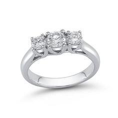 #Valentines #AdoreWe #Zales - #Zales 2 CT. T.w. Diamond Past Present Future® Engagement Ring in 14K White Gold (I/si2) - AdoreWe.com