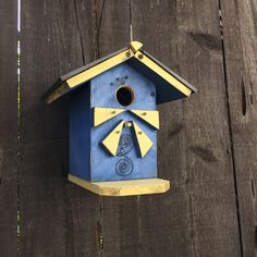 Beach Birdhouse Bungalow Blue & Yellow Bluebird Hanging Seaside Bird House Decorative Rustic Birdhouses Item #474358538 by BirdhousesByMichele on Etsy
