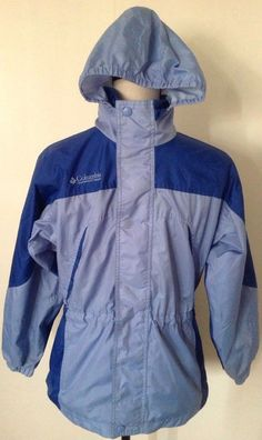 Girl's Columbia Jacket Sz 10/12 Blue Hooded Rain Windbreaker Outerwear Long Fit #Columbia #Windbreaker #Everyday