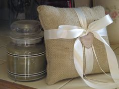 Burlap Ring Bearer Pillow  Personalized For by occasionsbysarah, $20.00