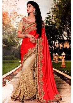 rouge georgette saree, - 161,00 €, #SariFrance  #ModeBollywood #RobeIndien #Shopkund                                                                                                                                                                                 Plus
