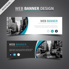 Blue and white web banner design Free Vector