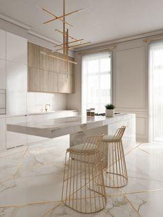 Cozinha elegante incrível com toques de ouro - KÜCHE - Modern Kitchen Design, Interior Design Kitchen, Modern Interior Design, Interior Decorating, Modern Bar, Decorating Ideas, Luxury Interior, Decorating Websites, Marble Interior