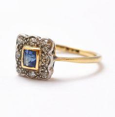 Edwardian Sapphire Diamond Ring 18K Gold by BlueRidgeNotions,