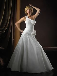 Silk-Like Taffeta Ball Gown One-Shoulder Sleeveless Wedding Dress