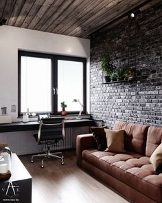 Industrial style 141370875787105374 - This city house in Minsk, Belarus, is of modern loft style. Designed by VAE, the interior is decked out with metal and concrete industrial features, softe Source by uberspeck Futuristisches Design, Loft Design, Home Room Design, Home Office Design, Design Ideas, Brick Design, Kitchen Design, Industrial Interior Design, Industrial House