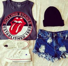 shirt rolling stones red black tongue top shorts